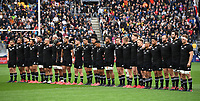 11th October 2020; Sky Stadium, Wellington, New Zealand;   All Blacks players line up for the national anthems during the Bledisloe Cup rugby union test match between the New Zealand All Blacks and Australia Wallabies.