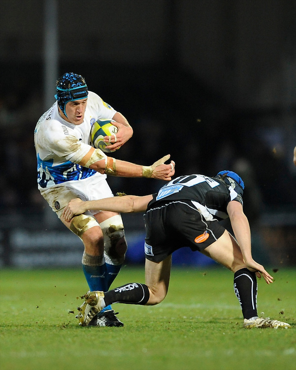Ben Skirving of Bath Rugby (left) brushes aside Myles Dorrian of Exeter Chiefs during the LV= Cup match between Exeter Chiefs and Bath Rugby at Sandy Park Stadium on Sunday 5th February 2012 (Photo by Rob Munro)