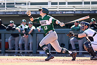 CARY, NC - FEBRUARY 23: David Melfi #13 of Wagner College hits the ball during a game between Wagner and Penn State at Coleman Field at USA Baseball National Training Complex on February 23, 2020 in Cary, North Carolina.