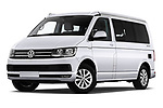Stock pictures of low aggressive front three quarter view of a 2018 Volkswagen California Ocean 4 Door Passenger Van