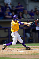 LSU Tigers shortstop Alex Bregman #30 swings the bat against the Auburn Tigers in the NCAA baseball game on March 24, 2013 at Alex Box Stadium in Baton Rouge, Louisiana. LSU defeated Auburn 5-1. (Andrew Woolley/Four Seam Images).
