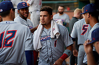Jacksonville Jumbo Shrimp Rodrigo Vigil (1) before a Southern League game against the Mobile BayBears on May 7, 2019 at Hank Aaron Stadium in Mobile, Alabama.  Mobile defeated Jacksonville 2-0.  (Mike Janes/Four Seam Images)