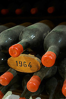 Bottles aging in the cellar. 1964. Chateau Grand Corbin Despagne, Saint Emilion Bordeaux France