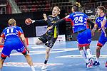 Elmar Asgeirsson (TVB Stuttgart #4) ; James Scott jr. (HBW Balingen #24) ; BGV Handball Cup 2020 Halbfinaltag: TVB Stuttgart vs. HBW Balingen-Weilstetten am 11.09.2020 in Ludwigsburg (MHPArena), Baden-Wuerttemberg, Deutschland<br /> <br /> Foto © PIX-Sportfotos *** Foto ist honorarpflichtig! *** Auf Anfrage in hoeherer Qualitaet/Aufloesung. Belegexemplar erbeten. Veroeffentlichung ausschliesslich fuer journalistisch-publizistische Zwecke. For editorial use only.