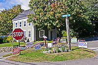 Local politics election campaign signs, Rockport Maine, USA