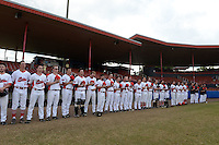 General view of the Illinois State Redbirds during the national anthem before a game against the Bowling Green Falcons on March 11, 2015 at Chain of Lakes Stadium in Winter Haven, Florida.  Illinois State defeated Bowling Green 8-7.  (Mike Janes/Four Seam Images)