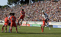 USA's Oguchi Onyewu heads the ball into goal. The USA defeated China, 4-1, in an international friendly at Spartan Stadium, San Jose, CA on June 2, 2007.