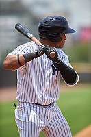 GCL Yankees West third baseman Griffin Garabito (1) at bat during the second game of a doubleheader against the GCL Yankees East on July 19, 2017 at the Yankees Minor League Complex in Tampa, Florida.  GCL Yankees West defeated the GCL Yankees East 3-1.  (Mike Janes/Four Seam Images)