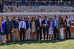 DEL MAR, CA  SEPTEMBER: Flavien Prat and the connections in the winners circle after winning the Del Mar Debutante (Grade 1) on September 1, 2018, at Del Mar Thoroughbred Club in Del Mar, CA.(Photo by Casey Phillips/Eclipse Sportswire/Getty ImagesGetty Images