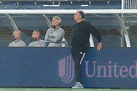 FOXBOROUGH, MA - SEPTEMBER 02: New England Revolution assistant coach Richie Williams and New England Revolution coach Bruce Arena watch the play during a game between New York City FC and New England Revolution at Gillette Stadium on September 02, 2020 in Foxborough, Massachusetts.