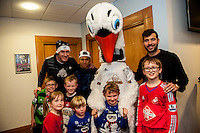 Tuesday  15 December 2015<br /> Pictured: Gerhard Tremmel, Jefferson Montero, Cyril the Swan and Jordi Amat<br /> Re: Kids SCFC Christmas Party at the Liberty Stadium, Swansea