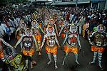 Pulikali procession at Swaraj road, Trichur, Kerala, India