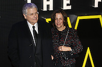 Lawrence Kasdan and Meg Kasdan attend the STAR WARS: 'The Force Awakens' EUROPEAN PREMIERE at Odeon, Empire & Vue Cinemas, Leicester Square, England on 16 December 2015. Photo by David Horn / PRiME Media Images
