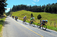 NZ's Hayden McCormick (right) leads Nick Reddish (2nd right) and the peloton on the return leg down Whangaehu Valley Rd. Stage One of the 2018 NZ Cycle Classic UCI Oceania Tour in Wairarapa, New Zealand on Wednesday, 17 January 2018. Photo: Dave Lintott / lintottphoto.co.nz