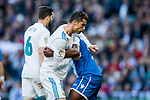 Cristiano Ronaldo (L) of Real Madrid and Aldo One Esteve of RC Deportivo La Coruna wrestle during the La Liga 2017-18 match between Real Madrid and RC Deportivo La Coruna at Santiago Bernabeu Stadium on January 21 2018 in Madrid, Spain. Photo by Diego Gonzalez / Power Sport Images