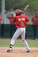 Arizona Diamondbacks outfielder Marcus Wilson (8) during an Instructional League game against the Los Angeles Angels on October 7, 2014 at Salt River Fields at Talking Stick in Scottsdale, Arizona.  (Mike Janes/Four Seam Images)