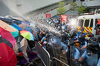 Hong Kong police fire pepper spray at pro-democracy protesters during the first day of the mass civil disobedience campaign Occupy Central, Hong Kong, China, 28 September 2014.