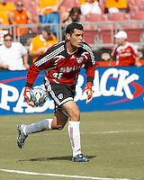 FC Dallas goalkeeper Dario Sala (48) rolls the ball.  Houston Dynamo beat FC Dallas 2-1 at Robertson Stadium in Houston, TX on June 3, 2007.
