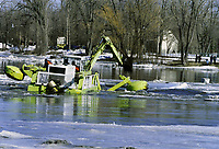 2004 File Photo Montreal (Quebec) CANADA<br /> breaking the ice on a river near Montreal<br /> Photo (c) Karpoff / Images Distribution