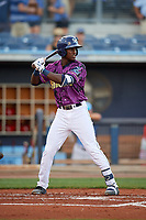 Charlotte Stone Crabs shortstop Lucius Fox (2) at bat during a game against the Palm Beach Cardinals on April 21, 2018 at Charlotte Sports Park in Port Charlotte, Florida.  Charlotte defeated Palm Beach 5-2.  (Mike Janes/Four Seam Images)
