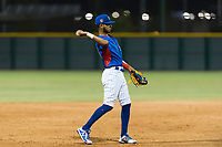 AZL Cubs 2 third baseman Luis Verdugo (18) throws to the pitcher during an Arizona League game against the AZL Indians 2 at Sloan Park on August 2, 2018 in Mesa, Arizona. The AZL Indians 2 defeated the AZL Cubs 2 by a score of 9-8. (Zachary Lucy/Four Seam Images)