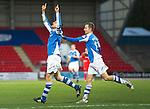 St Johnstone v Ross County...17.11.12      SPL.Dave Mackay celebrates his goal and Steven MacLean.Picture by Graeme Hart..Copyright Perthshire Picture Agency.Tel: 01738 623350  Mobile: 07990 594431