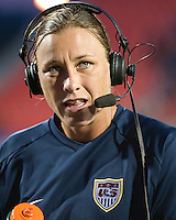 Abby Wambach comments for TV. The US Women's National Team defeated the Canadian Women's National Team, 4-0, at BMO Field in Toronto during an international friendly soccer match on May 25, 2009.