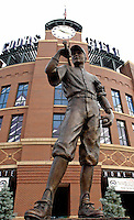 10 September 2006: Coors Field Statue welcomes fans to the home plate ballpark entrance in Denver, Colorado. Coors Field has been the home of the Colorado Rockies since its inaugural season in 1995...Mandatory Photo Credit: Ed Wolfstein.