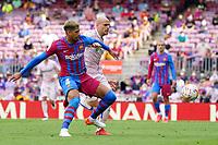 29th August 2021; Nou Camp, Barcelona, Spain; La Liga football league, FC Barcelona versus Getafe;  Ronald Araujo cuts off the Getafe attack