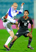 Johnathan Bornstein defends the play. Slovakia defeated the US Men's National Team 1-0 at the Tehelne Pole in Bratislava, Slovakia on November 14th, 2009.
