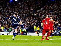 4th September 2021; Hampden Park, Glasgow, Scotland: FIFA World Cup 2022 qualification football, Scotland versus Moldova: Kevin Nisbet of Scotland takes a shot at goal