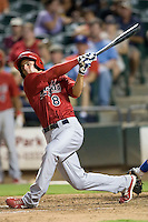 Memphis Redbirds shortstop Pete Kozma #8 swings during a game against the Round Rock Express at the Dell Diamond on July 7, 2011in Round Rock, Texas.  Round Rock defeated Memphis 6-4.  (Andrew Woolley / Four Seam Images)