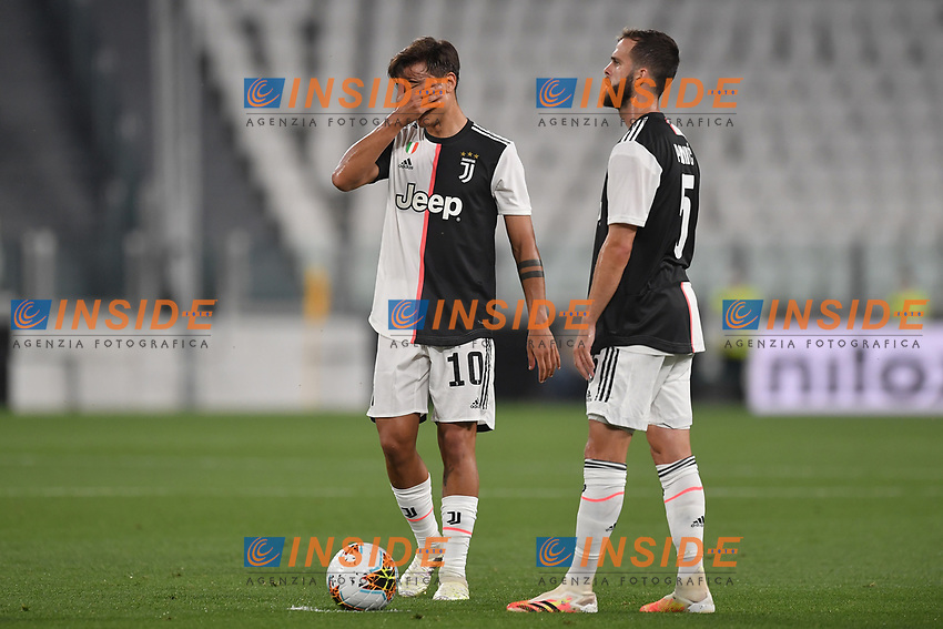 Paulo Dybala and Miralem Pjanic of Juventus <br /> during the Serie A football match between Juventus FC and US Lecce at Juventus stadium in Turin  ( Italy ), June 26th, 2020. Play resumes behind closed doors following the outbreak of the coronavirus disease. Photo Andrea Staccioli / Insidefoto