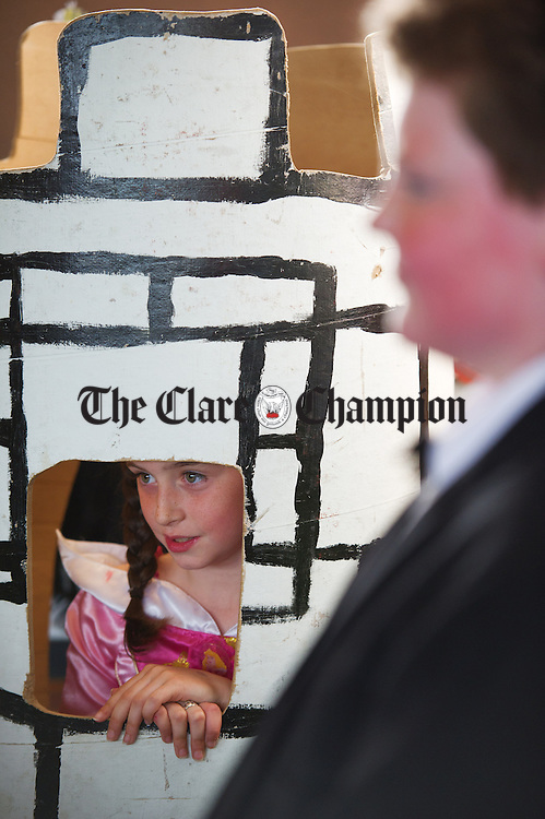 """Rachel Daly as the princess in the tower performing in a play during a graduation ceremony for Burren Beo """"Burren Expert"""" pupils of New Quay National School as part of the Eco Beo programme. Photograph by John Kelly."""