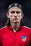 Filipe Luis of Atletico de Madrid looks on prior to the UEFA Europa League 2017-18 Round of 16 (1st leg) match between Atletico de Madrid and FC Lokomotiv Moscow at Wanda Metropolitano  on March 08 2018 in Madrid, Spain. Photo by Diego Souto / Power Sport Images