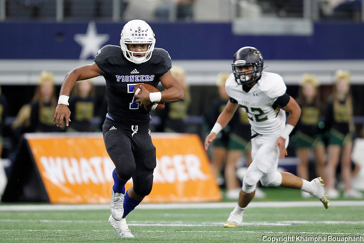 Boswell senior receiver breaks free for a 57 yard gain after the catch in the second quarter against Birdville in bi-district high school playoff football at AT&T Stadium in Arlington on Saturday, November 14, 2015.
