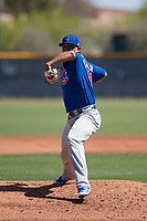 Chicago Cubs starting pitcher Adbert Alzolay (41) during a Minor League Extended Spring Training game against the Los Angeles Angels at Sloan Park on April 14, 2018 in Mesa, Arizona. (Zachary Lucy/Four Seam Images)