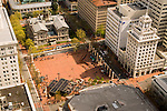 Aerial view of the Pioneer Courthouse Square in downtown Portland, OR.