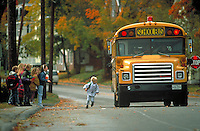 Children at school bus stop