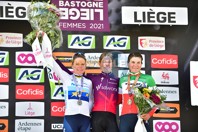 Demi Vollering (NED) Team SD Worx wins Liege-Bastogne-Liege Femmes 2021, with Annemiek Van Vleuten (NED) Movistar Team Women 2nd and Elisa Longo Borghini (ITA) Trek-Segafredo in 3rd place, running 141km from Bastogne to Liege, Belgium. 25th April 2021.  <br /> Picture: A.S.O./Gautier Demouveaux   Cyclefile<br /> <br /> All photos usage must carry mandatory copyright credit (© Cyclefile   A.S.O./Gautier Demouveaux)