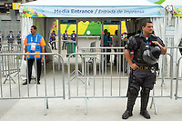 A military and police presence outside the Media entrance where Chile fans broke through security at a previous match