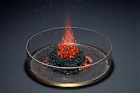 AMMONIUM DICHROMATE OXIDATION - VOLCANO EFFECT<br /> When ignited, a spectacular exothermic reaction occurs with end products of solid chromium (III) oxide, nitrogen gas & water vapor.