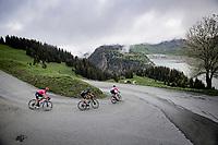 Martijn Tusveld (NED/DSM) & co descending towards the Barrage de Roselend<br /> <br /> 73rd Critérium du Dauphiné 2021 (2.UWT)<br /> Stage 7 from Saint-Martin-le-Vinoux to La Plagne (171km)<br /> <br /> ©kramon
