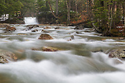 """The Baby Flume on the Pemigewasset River in Franconia Notch State Park of Lincoln, New Hampshire on a spring day. This natural feature is located a short ways down river from the """"The Basin"""" viewing area."""