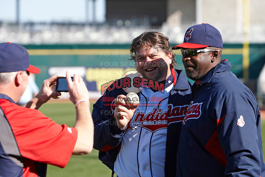 Former major league pitcher Mike Jackson (right) poses for a photo with a camper who hit a double off him during the campers vs pros game at the Cleveland Indians Fantasy Camp at Goodyear Stadium on January 19, 2012 in Goodyear, Arizona.  (Mike Janes/Four Seam Images)