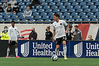 FOXBOROUGH, UNITED STATES - MAY 28: Ignacio Poplawski #34 of Fort Lauderdale CF looks to pass during a game between Fort Lauderdale CF and New England Revolution II at Gillette Stadium on May 28, 2021 in Foxborough, Massachusetts.