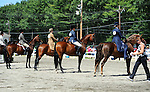Horse and rider lineup in horse show at Cheshire Fair in Swanzey, New Hampshire,USA