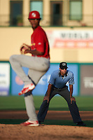 Umpire Justin Robinson watches pitcher Sandy Alcantara deliver a pitch during a game between the Palm Beach Cardinals and Jupiter Hammerheads on August 13, 2016 at Roger Dean Stadium in Jupiter, Florida.  Jupiter defeated Palm Beach 6-2.  (Mike Janes/Four Seam Images)