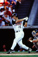 Randy Velarde of the Anaheim Angels during a game circa 1999 at Angel Stadium in Anaheim, California. (Larry Goren/Four Seam Images)