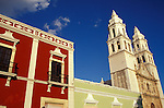 Restored Spanish colonial buildings in the city of Campeche, Mexico. Old Campeche was declared a UNESCO World Heritage site in 1999.